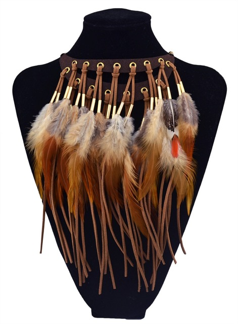 f776d92610371 Handmade Indian Festive Moon Shaped Leather Chain Brown Feather Tassel Choker  Necklaces Bohemian Long Tassel Statement Necklace