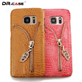 Dr. case phone cases para samsung galaxy s6 s7 s6 s7 borda brilhante rhinestone ziipper couro case capa para samsung galaxy s6 s7