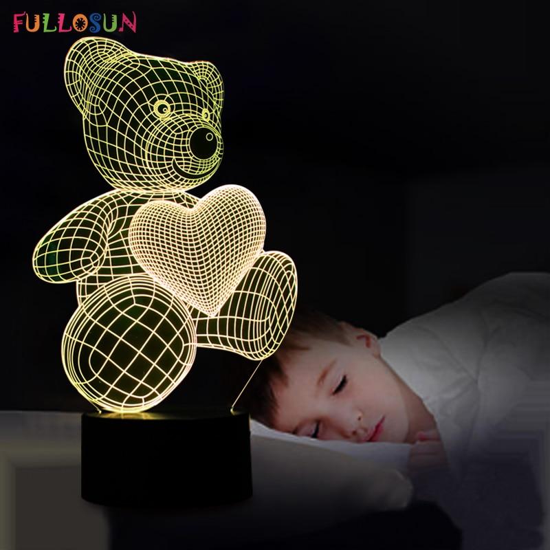 만화 귀여운 하트 곰 모양 LED 램프 3D 아기 밤 빛