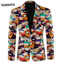 Plus Size Cartoon Printed Blazer Men Casual Linen Jacket Slim Masculino Fashion Party Stage Jacket For