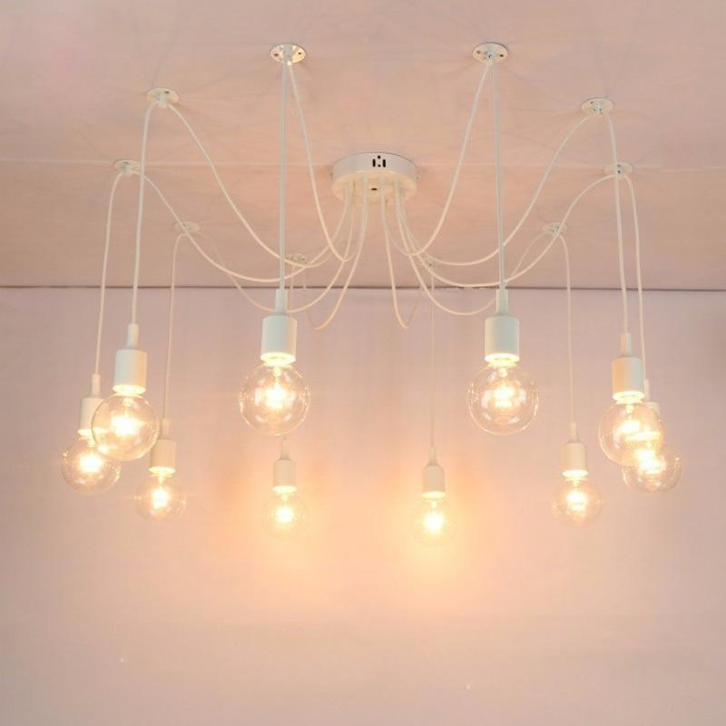 Modern pendant lights DIY White E27 Nordic Light Edison Bulb Lamp Loft Adjustable Spider Chandelier Ceiling luminaire Fixture modern pendant chandelier 3 lights ceiling lamp fixture red black white color