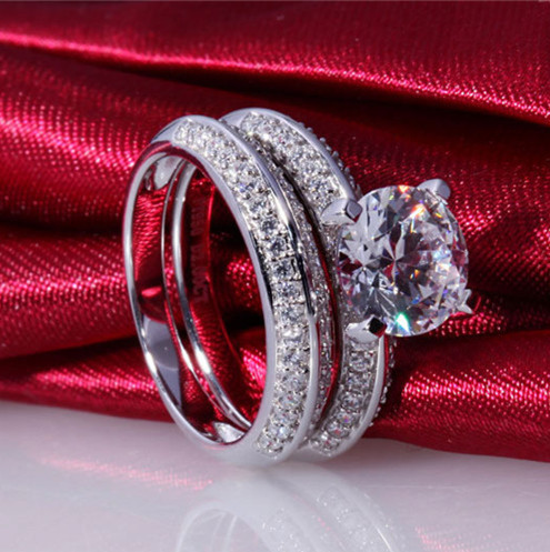 Celebrity Style 925 Sterling Silver 2 Carat Nscd Simulated Diamond Wedding Band Sets For Women