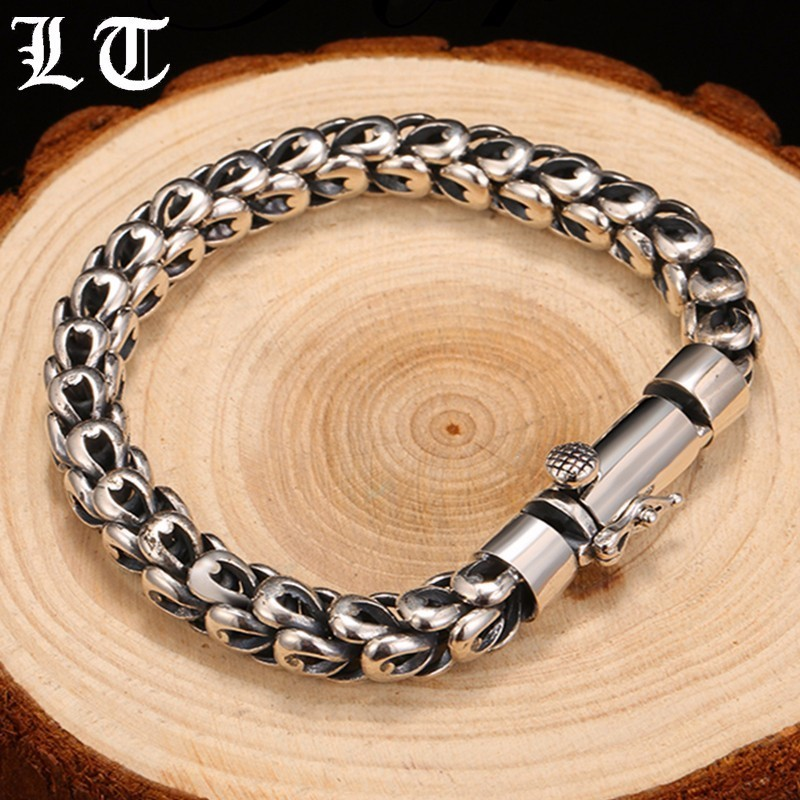 LT Solid 925 Sterling Silver Bracelet Men Dragonscale High Polished Gothic Vintage Punk Rock Bracelets Jewelry For Male 925 sterling silver bracelets for men skull bracelet vintage punk rock gothic bague fashion men cool exaggerated fine jewelry