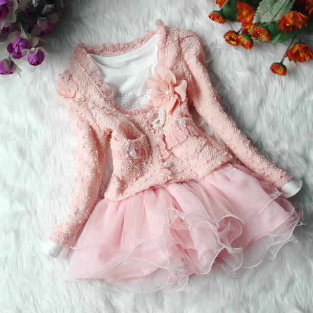Outono inverno trovão seda meninas crianças flor princesa vestidos de festa rosa bege dois