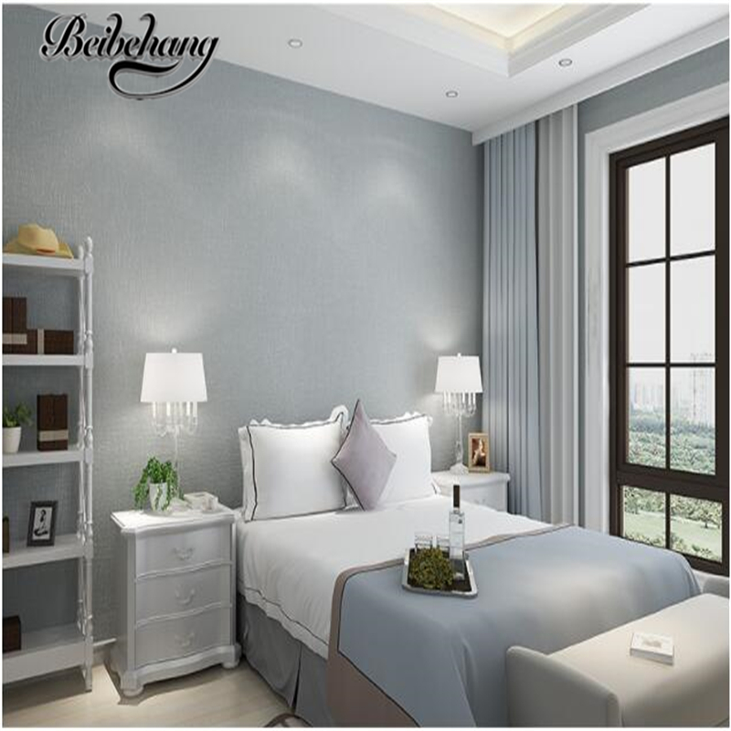 plain wall bedroom background tv living simple warm modern beibehang woven non