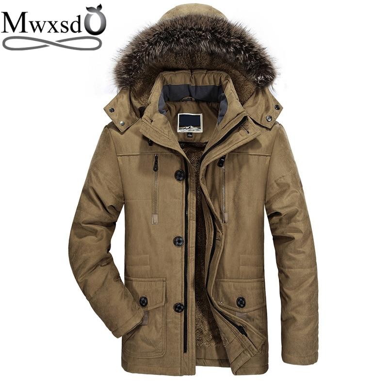 Mwxsd -30 Winter Casual Mens Fur Hooded Parka Jacket Men Thick Warm Down Fur Parka Jacket For Men Bomber Jacket Outdoor 6xl