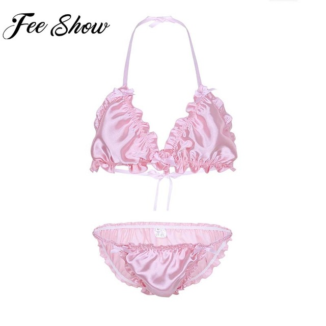 90df03ce28228 Feeshow Gay Men Ruffled Frilly Lingerie Set Strappy Halter Manikini Bra Top  with Briefs Underwear Panties Sissy Frilly Thong