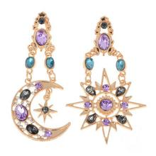 цена на Crystal Rhinestone Moon Star Drop Earrings For Women Bohimina Gold Plated Crystal Rhinestone Moon Dangle Earrings Party Jewelry