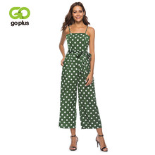 GOPLUS Spring Sashes Bow Polka Dot Vintage Jumpsuit Women Strap High Waist Sleeveless Jumpsuit Lady Wide Leg Jumpsuit Plus Size(China)