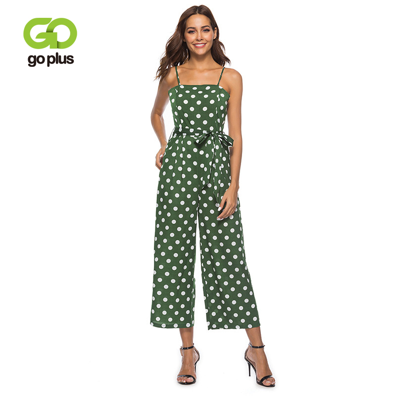 GOPLUS Spring Sashes Bow Polka Dot Vintage   Jumpsuit   Women Strap High Waist Sleeveless   Jumpsuit   Lady Wide Leg   Jumpsuit   Plus Size
