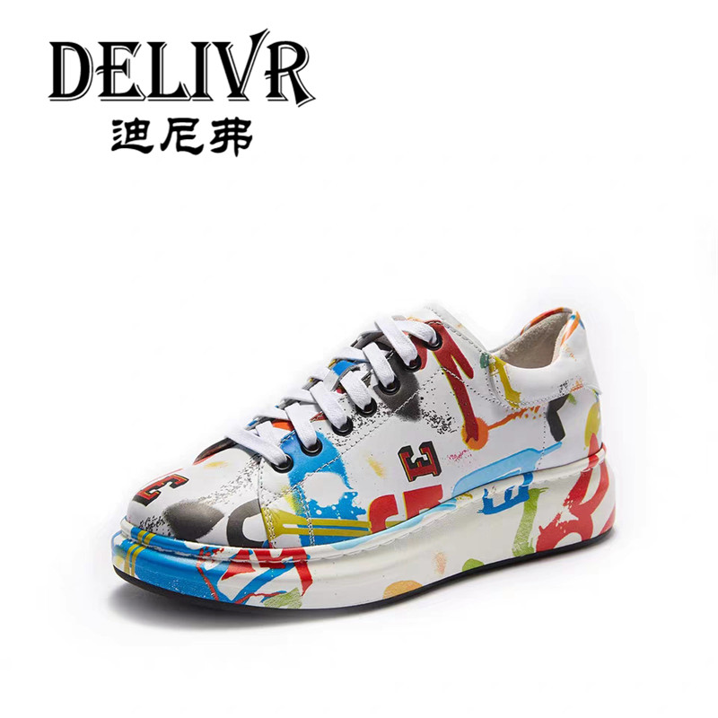 Delivr Luxury Women'S Sneakers Graffiti Thick Sole 2019 New Casual Women Sneakers Basic Fashion Ladies Sneaker Zapatillas Mujer