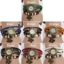 Lovely Women Wrist Watch Weave Braided Quartz Butterfly PU Leather Bracelet Beads Round Women Students Bracelet Watches цена