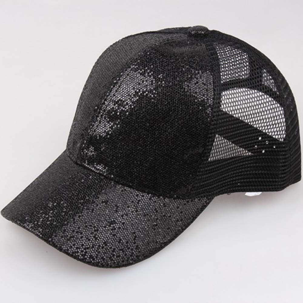 2018 Women Ponytail Baseball Cap Mesh Sequins Shiny Bun Women Snapback Hat  Sun Caps Women s Adjustable Cap-in Baseball Caps from Apparel Accessories  on ... a2656c18ee1b
