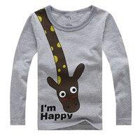 Long Sleeve Giraffe Children Cotton Boys T-Shirts Cute Animal Kids Casual Boy Tees Spring Autumn Kids Clothes Boys T Shirts