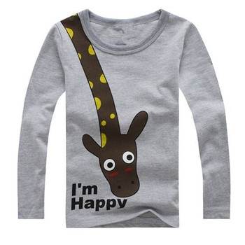 Long Sleeve Giraffe Children Cotton Boys T-Shirts Cute Animal Kids Casual Boy Tees Spring Autumn Kids Clothes Boys T Shirts
