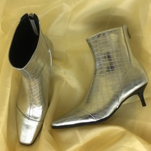 Zapatos de mujer 2018 Sapatos Ankle Boots de Couro Mulher Saltos Med Praça Toes Crocodilo Padrão Chelaea Botas Mulher bota feminina