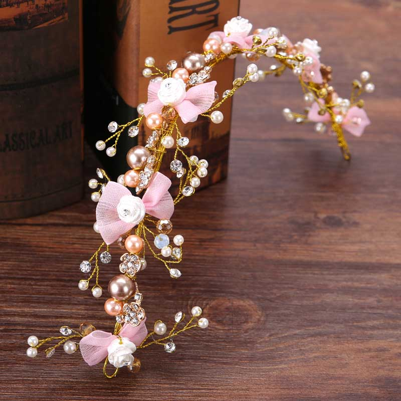 Bridal Hair Accessories Pink Yarn Butterfly Pearl Crystal Hair Vine Headband Wedding Noiva Floral Hairpieces Women Hair Jewelry