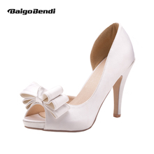 US 5 6 7 8 9 10 Silk Bead Heel Bowknot Bridal Wedding Formal Dress White Womens Peep Toe High Shoes