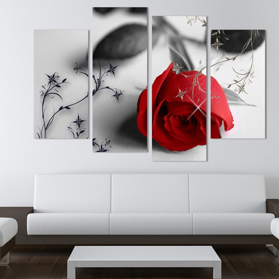 Top 4 Piece Beautiful Red Rose Flowers Wall Painting Modern Home  AD98