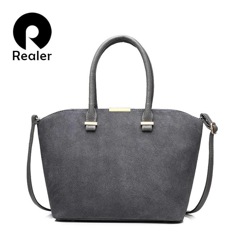 REALER new fashion women handbag high quality artificial leather women tote bag gray/black/red/blue/brown 5 colors crossbody bag 2017 new elegant handbag for women high quality split leather female tote bags stylish red black gray ladies messenger bag