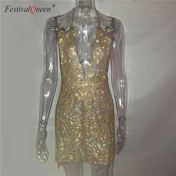 Festival Queen luxury diamond deep v neck mini dress women 2018 sexy halter rhinestone metal sequins party night club dress