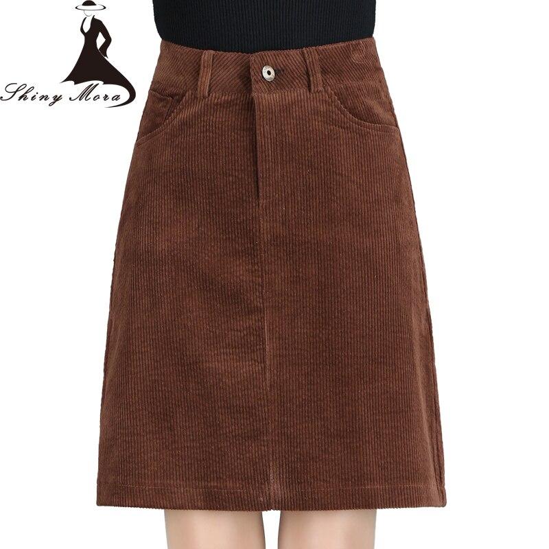 9bece555f SHINYMORA otoño nueva moda una línea de faldas de pana para mujeres de  cintura alta de bolsillo Delgado falda de longitud de la rodilla Mujer  Faldas ...