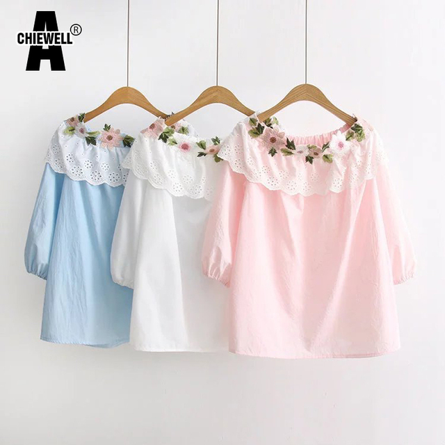 832f336b0987 Achiewell Summer Sweet Casual Women Shirt Embroidery Flowers Lace  Decoration Boat Neck Pink Blue White Blouse Shirt Tops