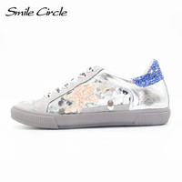Smile Circle 2017 Spring Summer Style Women Shoes Genuine Leather Lace Up Sandals Shoes Women Fashion