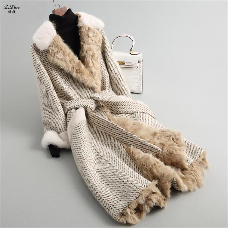 ZiZhen invierno mujeres largo de la Cachemira de lana Natural Real Cordero Liner abrigo de visón Cuello de piel bolsillos con cinturón 180709-4