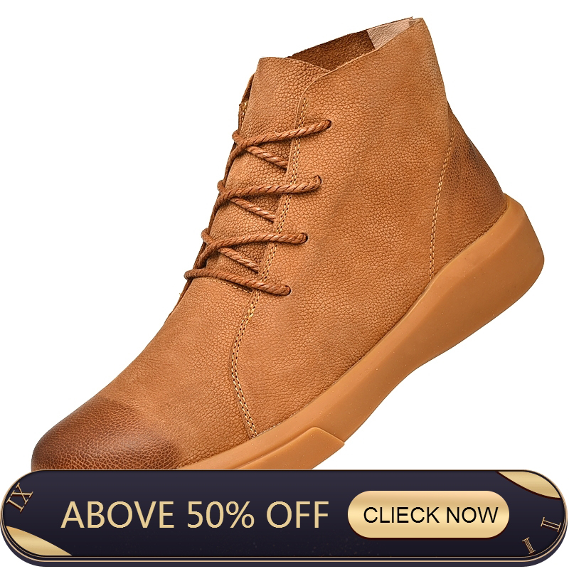 Natural Wool Men Snow Boots Size 38~47 Warmest Cow Split Leather Europe Style Men Winter Boots Ankle Work Desert Boots