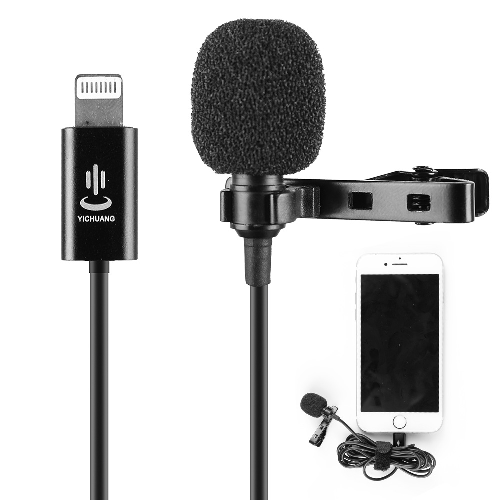 YC-LM10 1.5m Cable Microphone Microfone Audio Video MIC Recording Lavalier Condenser Microphone For IPhone X 8 7 6 Plus