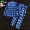 New Spring Blue plaid 100% cotton Mens pajamas sets Spring Simple long-sleeve sleepwear for male Casual pijamas mens pyjamas