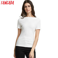 Tangada Summer Style sexy Slash Neck t-shirt women tops White Shirts Knitted Short sleeve top tees Green black t shirt female XD