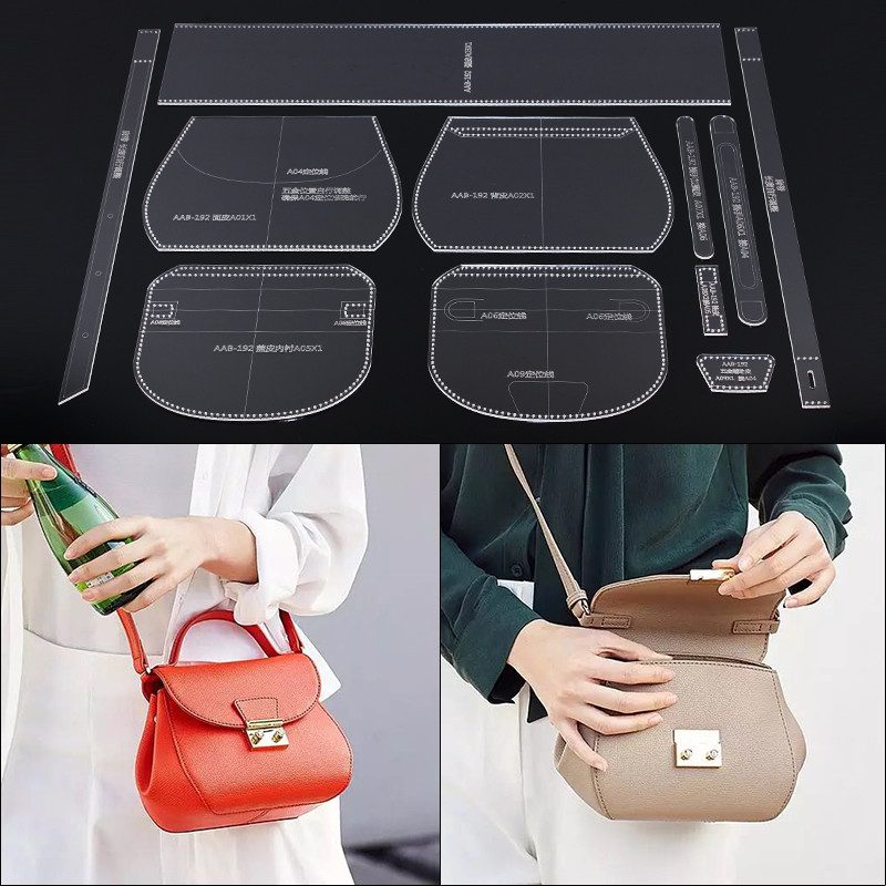 1Set DIY Home Handmade Bag Sewing Acrylic Leather Template Lady Shoulder Handbag Sewing Patterns
