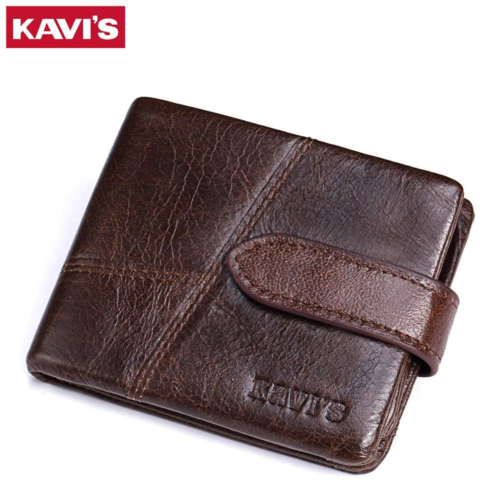 KAVIS Genuine Leather Men Wallet Luxury Brand Mens Walet PORTFOLIO with Zipper Coin Purse Pocket Male Small Portomonee Vallet genuine leather mens wallet black hasp men purse with zipper coin pocket portfolio male short card holder vertical men wallets