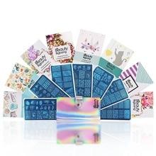 BeautyBigBang Nail Stamping Plate Set Geometry New Summer Flower Design Stempel Art Stamp For Template akryl