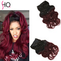 "Ombre Burgundy Human Hair Clip in Extensions 120g Hair Weave Clips 10""-28"" Mega Hair Cabelo Humano BY32"