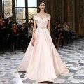 Moda Light Pink Off The Shoulder Querida Plissada Longa Prom Vestidos para Festa de Casamento