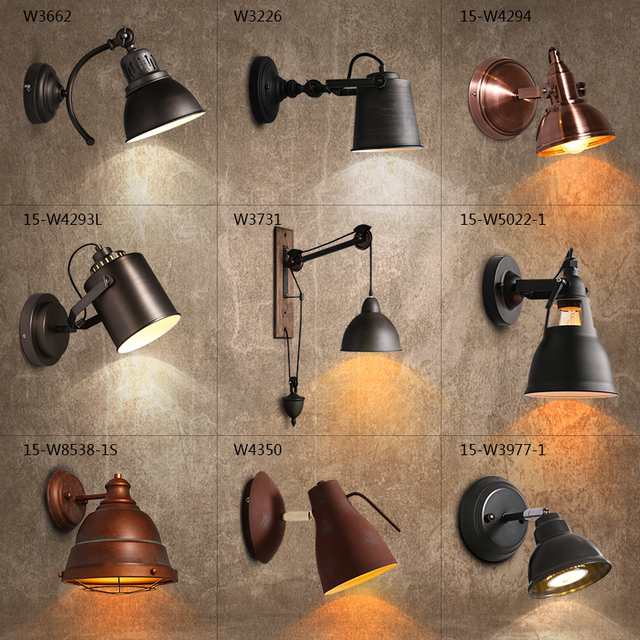 Retro Loft Industrial LED Foldable Modern wall Lamp Adjustable Handle Metal Rustic Loft Lighting Fixtures
