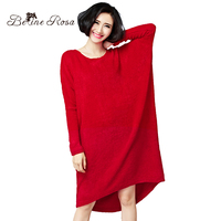 BelineRosa 2017 Women S Sweater Dress Winter Autumn Terry Casual Solid Black Red Plus Size Dresses