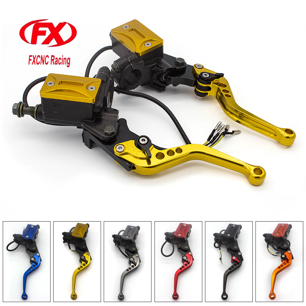 FX CNC 7/8 22MM Universal Fit 50-400CC Street Motorcycle Scooter Motorcycles Brake Clutch Master Cylinder Levers Reservoir