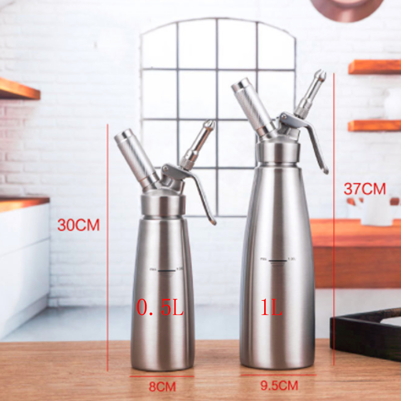 0.5L/1L Professional 304#stainless steel/Aluminum Cream Foamer Gun Whipper Butter Dispenser Coffee Dessert Cake DIY Bake Tools0.5L/1L Professional 304#stainless steel/Aluminum Cream Foamer Gun Whipper Butter Dispenser Coffee Dessert Cake DIY Bake Tools
