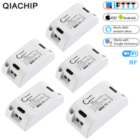 QIACHIP 5PCS RF Wifi 433MHz 10A/2200W Wireless Remote Switch ON/Off Delay Smart Home Light APP Controller For Google Home Alexa