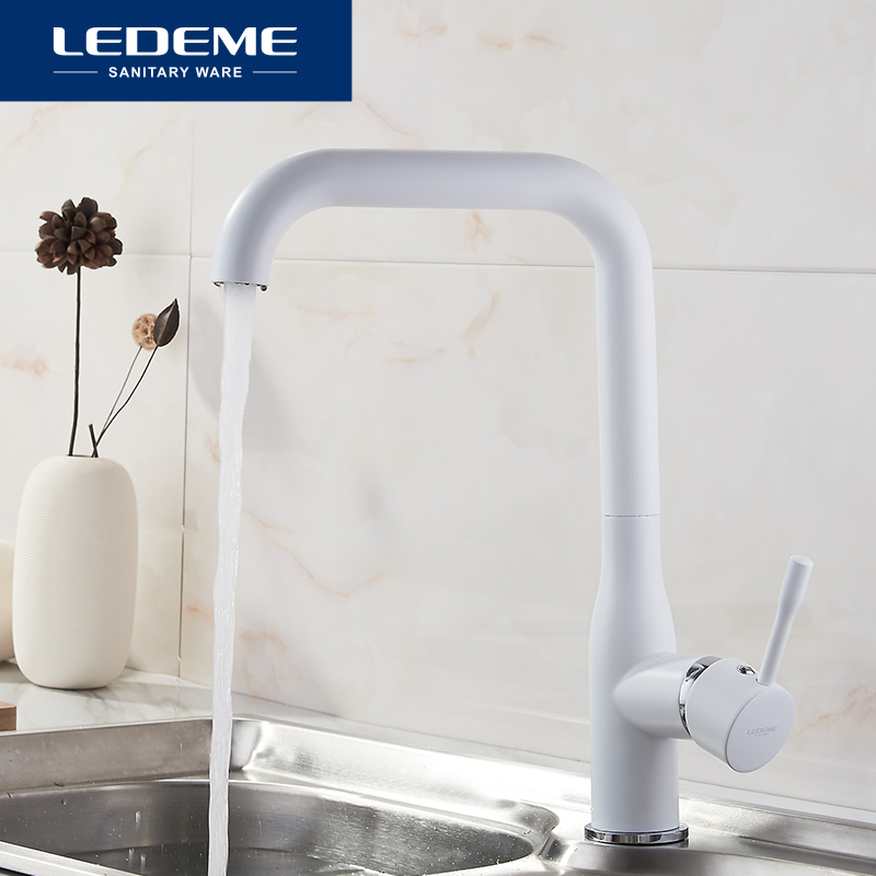 LEDEME White Kitchen Faucets Deck Mounted Kitchen Faucet Torneira Handle Swivel Sink Faucets Mixers Taps Brass Finish L4698W