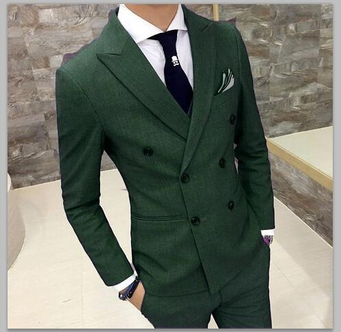 2018 Green Suit Men Slim Fit Double Breasted Groom Tuxedo 2 Piece Custom Prom Wedding Suits Blazer Terno Masuclino Jacket+Pant