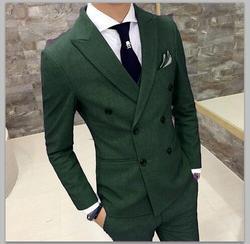 2018 grünen Anzug Männer Slim Fit Zweireiher Bräutigam Smoking 2 Stück Abendkleid Custom Hochzeit Anzüge Blazer Terno Masuclino Jacke + hose