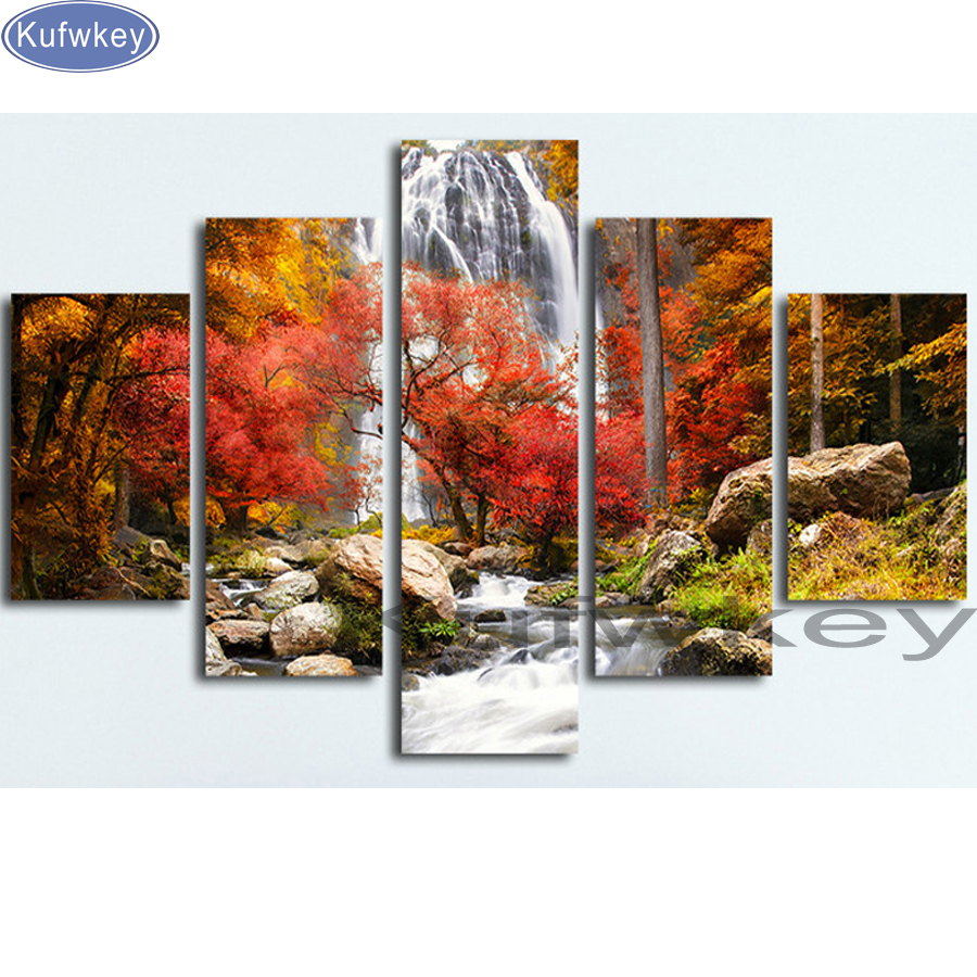 5 pcs 5d diy Diamond Painting nature Forest Waterfall Gift Room Decor Diamond Mosaic Embroidery Rhinestones