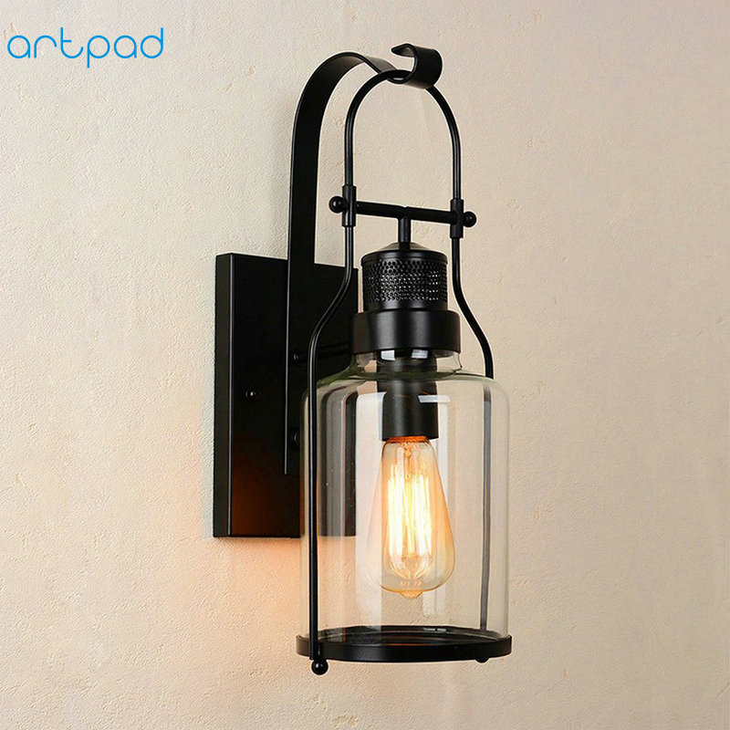 Artpad European Industrial Wall Lamp Loft Clear Glass Sconce Vintage Rustic Wall Lamps for Living Room Bathroom Bedroom Fixtures стоимость
