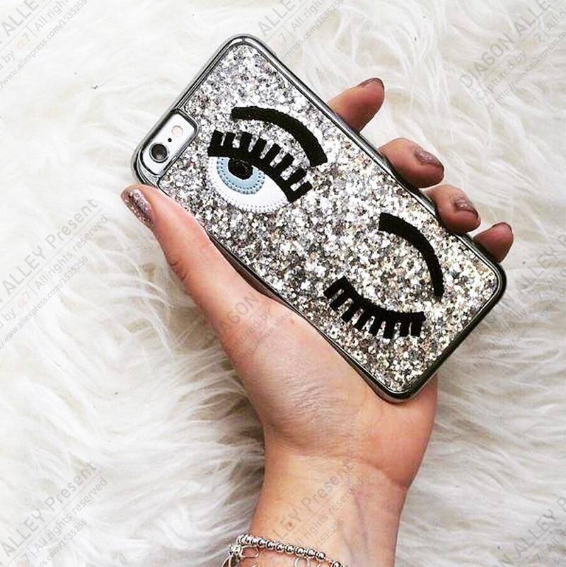 sale retailer cc764 347d1 US $4.99 |Chiara Ferragni Cover For iPhone7 3D Sequins Blinking Eye Glitter  Sparkles Chiara Ferragni Eyes Case Funda For IPhone6 IPhoneSE-in ...