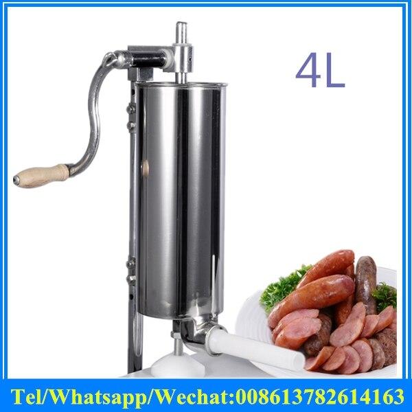 4L Stainless Steel Manual Sausage Maker Household Vertical Sausage Stuffer Filler